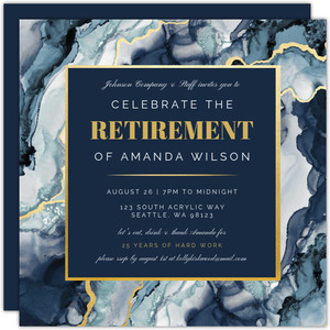 Modern Ink Geode Retirement Party Invitation