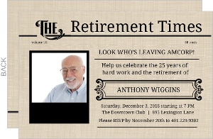 Antique Newspaper Retirement Party Invite