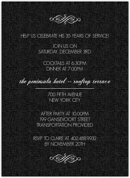 black and white formal retirement card retirement invitations