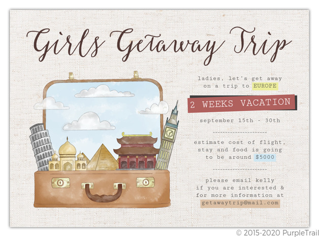 Trips And Gateaway Invitations