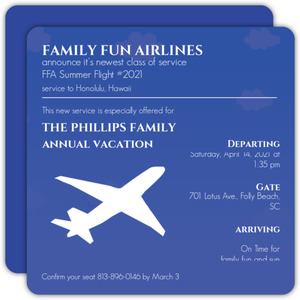 Blue Airplane Famiy Vacation Invite