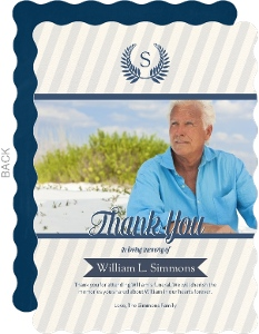 Navy And Tan Striped Funeral Thank You Card