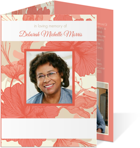 Hibiscus Coral Funeral Thank You Card