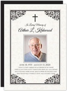 Elegant Corner Decor Memorial Card