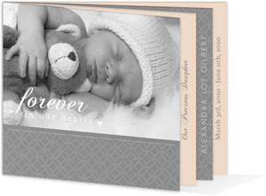 Sweet Gray and Pale Pink Child Memorial Card