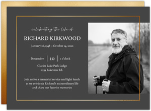 Minimal Faux Gold Frame Memorial Card