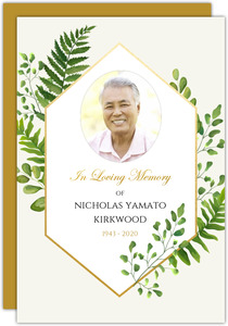 Faux Foil Diamond Greenery Frame Memorial Card