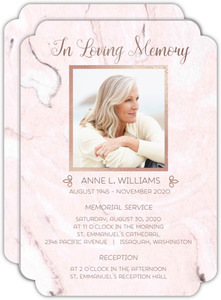 Blush Marble and Faux Rose Gold Funeral Memorial Card