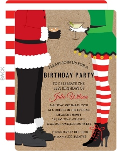 Santa & Elf Christmas Birthday Party Invitation
