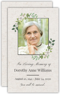 White Flower Frame Memorial Card