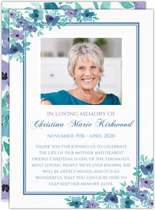 Blue Watercolor Flowers Memorial Card