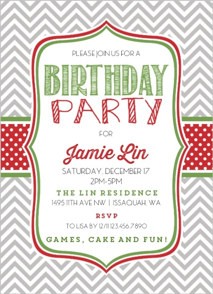 Chevron Polka Dot Christmas Birthday Party Invitation