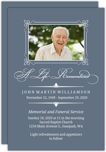 Blue Classic Memorial Card