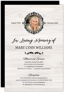 Black Circle Monogram Memorial Card