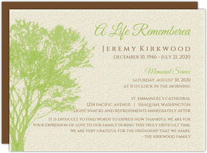 Cream and Green Rustic Tree Memorial Card