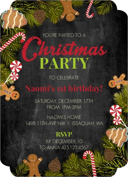 Gingerbread & Candy Cane Christmas Birthday Party Invitation