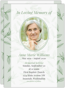 Green Tea Leaves Memorial Invitation