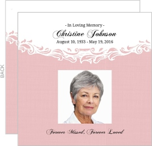 Pink and White Flourished Frame Memorial Card