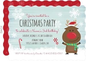 Cute Reindeer Christmas Birthday Party Invitation