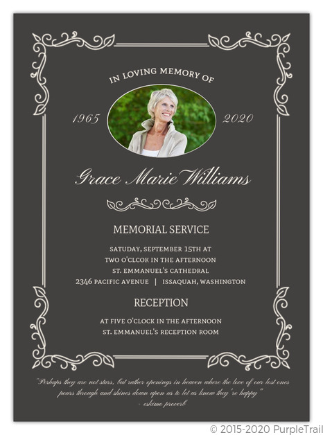 elegant foliage frame memorial invitation memorial cards