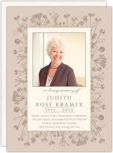 Modern Flourish Memorial Card