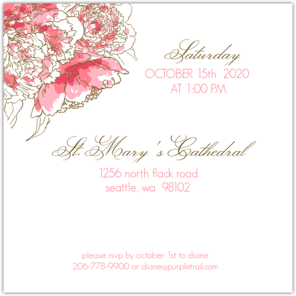 Pink Peony Funeral Service Invitation Memorial Cards