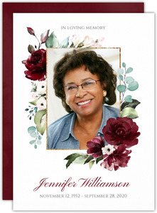 Elegant Burgundy Florals Memorial Card