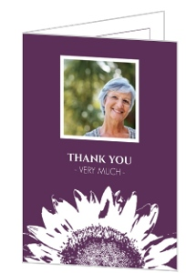 Purple Blossom Sunflower  Memorial Thank You Card