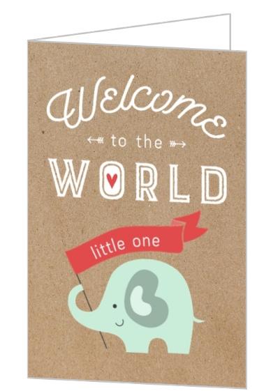 Modern Kraft Elephant Baby Shower Congratulations Card