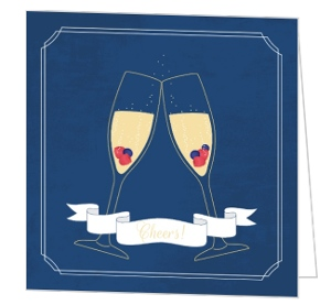 Fruit Champagne Wedding Anniversary Congratulations Card