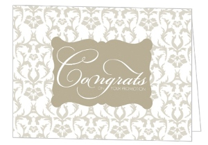 Elegant Taupe Damask Congratulations Card