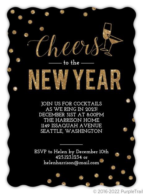 Confetti Cheers Faux Glitter New Years Invitation