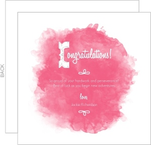 Pink Watercolor Congratulations Card