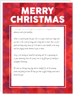 Red Geometric Pattern Christmas Letter