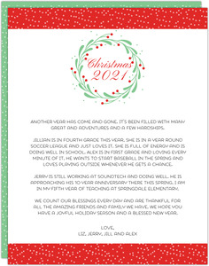 Whimsical Christmas Wreath Christmas Letter