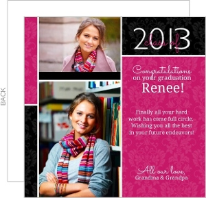 Pink Damask Grad Congratulations Card