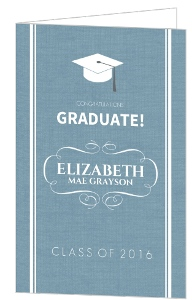 Blue Textured Grad Congratulations Card
