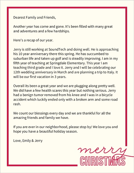 Simple Merry Christmas Letter Christmas Letter Templates