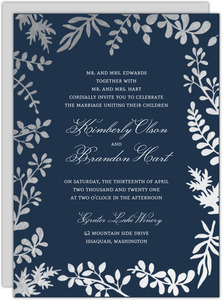 Elegant Silver Foil Leaves Wedding Invitation
