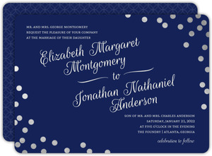 Silver Confetti Foil Flourish Wedding Invitation