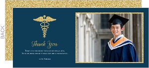 Showering Love CaBold Gold Faux Glitter Medical School Graduation Thank You