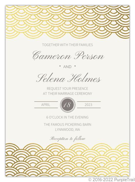 Foil Wedding Invitations.Gold Scallop Foil Wedding Invitation