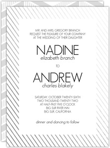 Modern Stripes Silver Foil Frame Wedding Invitation