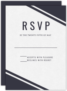 Geometric Gold Foil Ampersand Wedding Response Card