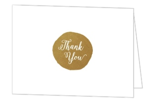 Faux Foli Monogram Blank Thank You Card