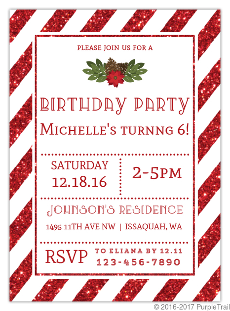 Christmas Birthday Party Invitations.Striped Red Glitter Christmas Birthday Party Invitation