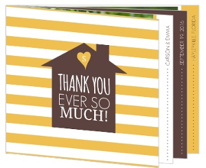 Brown and Yellow Modern Stripe Housewarming Thank You Card