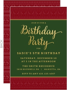 Festive Christmas Pattern Christmas Birthday Party Invitation