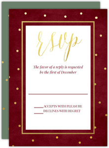 Winter Foliage Frame Wedding Response Card