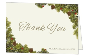 Pine Cone And Branches Christmas Wedding Thank You Card